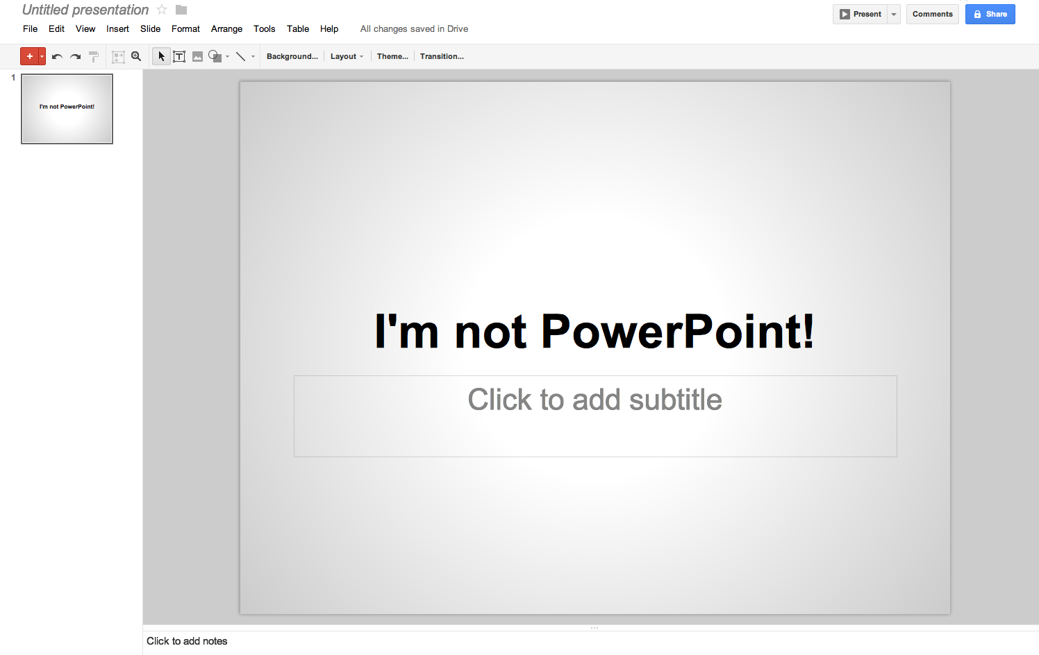 Google Drive Presentations: one of the best free Powerpoint alternative
